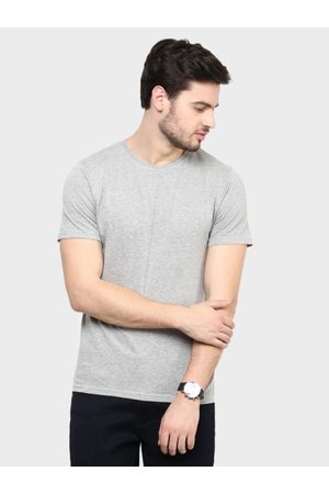Lifestyle Men Grey Solid Round Neck T-shirt