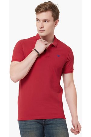 Lifestyle Men Maroon Solid Polo Collar T-shirt