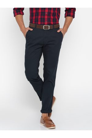 Lifestyle Men Navy Blue Solid Slim Fit Chino Trousers