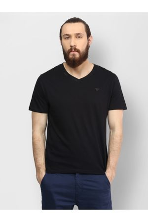 Lifestyle Men Black Solid V-Neck T-shirt