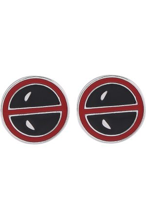 bodha Men Black & Red Deadpool Printed Silver-Plated Quirky Cufflinks