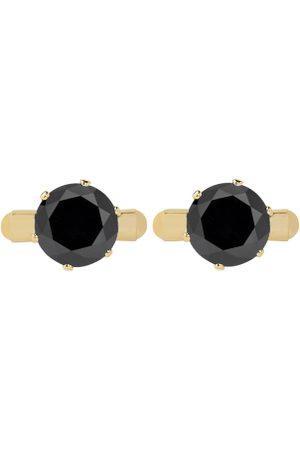 bodha Gold-Toned & Black Round Cufflinks