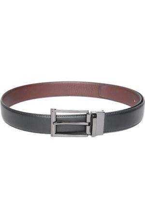 DENNISON Men Black & Brown Solid Reversible Leather Belt