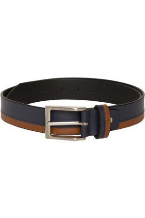 Mast & Harbour Men Navy Blue & Tan Leather Striped Belt