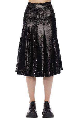 Simone Rocha Women Midi Skirts - Sequined Pleated Flared Midi Skirt