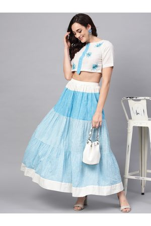 Pannkh Women White & Blue Striped Crop Top with Skirt