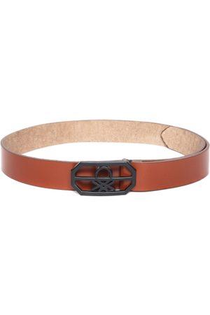 Benetton Men Brown Leather Solid Belt
