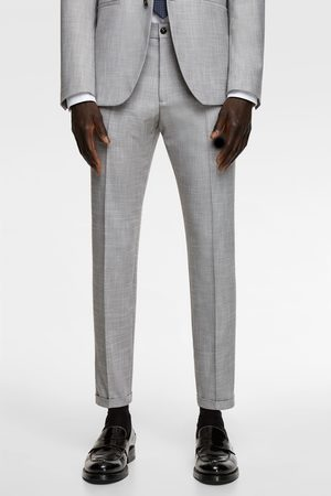 Zara Textured stretch suit trousers