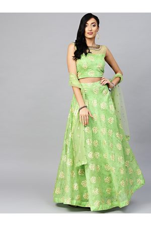 Chhabra 555 Women Green & Beige Khari Print Made to Measure Lehenga with Blouse & Dupatta