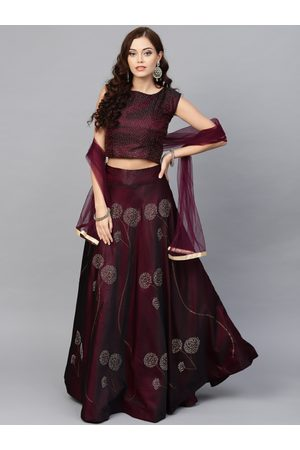 Chhabra 555 Women Burgundy Made to Measure Embellished Lehenga Choli with Dupatta