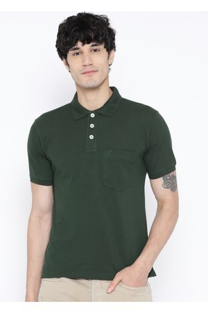 CHKOKKO Men Green Solid Polo Collar T-shirt