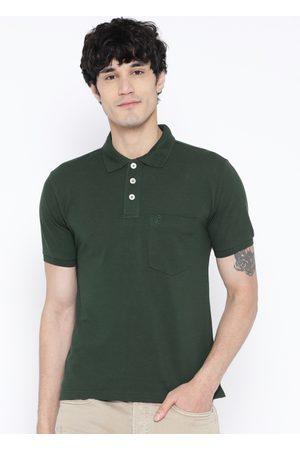 CHKOKKO Men Green Solid Polo Collar T-shirt