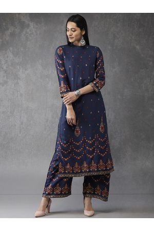 Anouk Women Navy Blue Printed Kurta with Palazzos