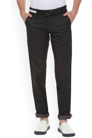 Louis Philippe Men Black Slim Fit Solid Regular Trousers