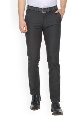 Louis Philippe Men Grey Slim Fit Solid Formal Trousers