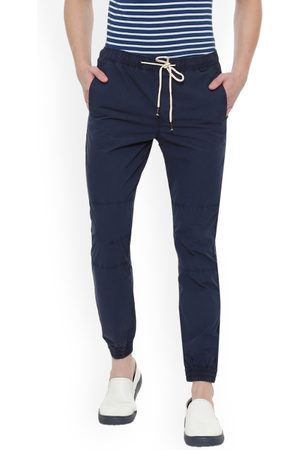 PEOPLE Men Navy Blue Regular Fit Solid Joggers