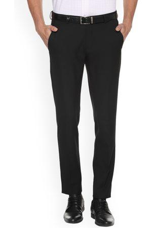 Louis Philippe Men Black Slim Fit Solid Formal Trousers