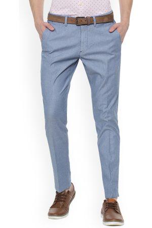 Louis Philippe Men Blue Slim Fit Solid Regular Trousers