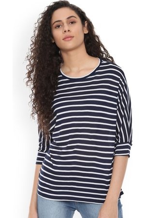 PEOPLE Women Sneakers - Women Navy Blue Striped High-Low Top