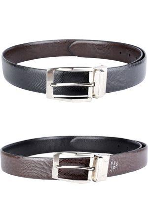 Louis Philippe Men Black & Brown Leather Reversible Solid Belt