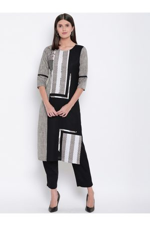 Kvsfab Women Grey & Black Striped Straight Kurta