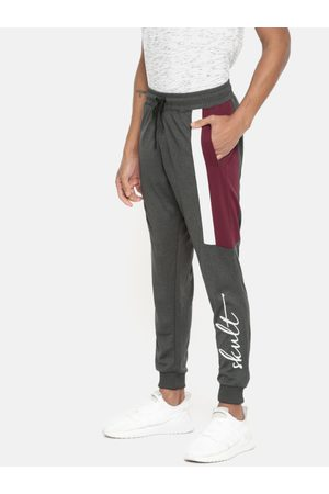 SKULT by Shahid Kapoor Men Charcoal Grey Printed Knitted Regular Fit Joggers