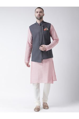 KISAH Men Pink & White Solid Kurta with Churidar