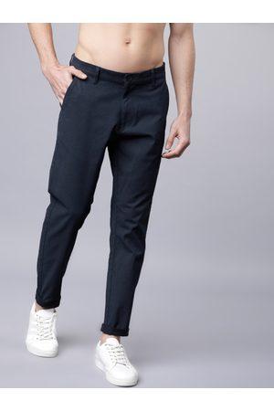 Highlander Men Navy Blue Slim Fit Solid Regular Trousers