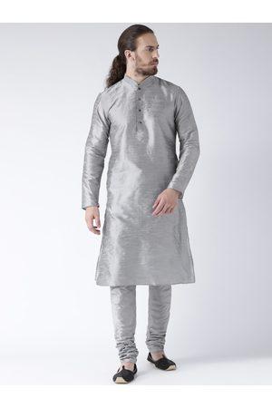DEYANN Men Grey Solid Straight Kurta