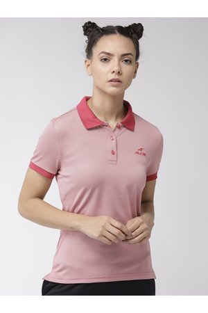 Alcis Women Red & Off-White Solid Polo Collar T-shirt