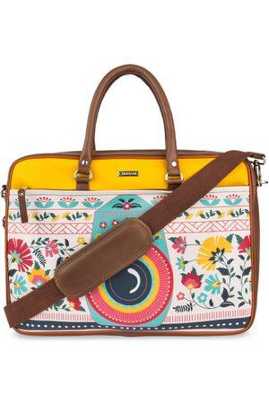 Chumbak Women White & Brown Printed Laptop Bag