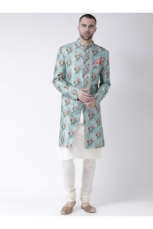 KISAH Men Blue & White Printed Sherwani Set