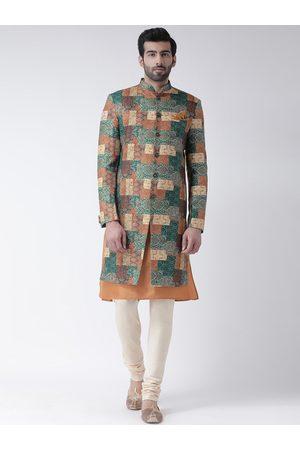 KISAH Men Multicoloured Printed Sherwani Set