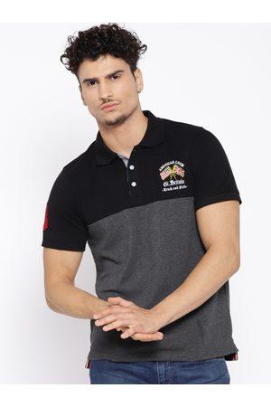 American Crew Men Charcoal Colourblocked Polo Collar T-shirt