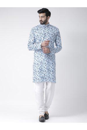Hangup Men Pyjamas - Men Blue & Off-White Printed Kurta with Pyjamas
