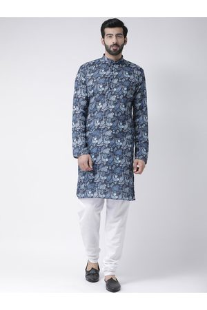 Hangup Men Blue & White Printed Kurta with Pyjamas