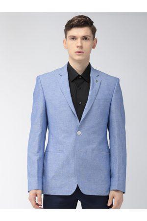 Park Avenue Men Blue Solid Super Slim Fit Single-Breasted Formal Blazer