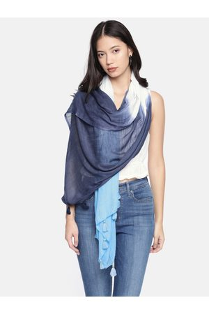 Ayesha Women Blue & White Dyed Scarf