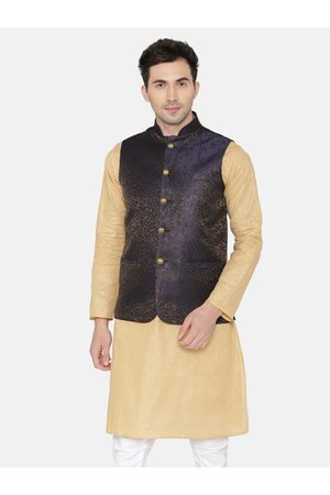 Wintage Men Navy Blue & Beige Printed Nehru Jacket