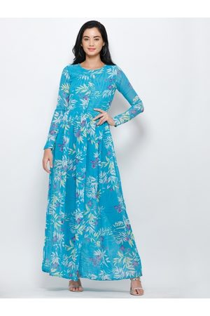 Cation Women Blue Tropical Printed Maxi Top