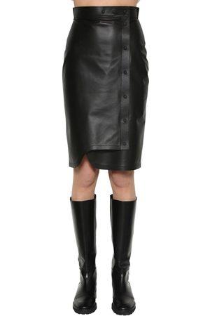 Sportmax Leather Midi Skirt