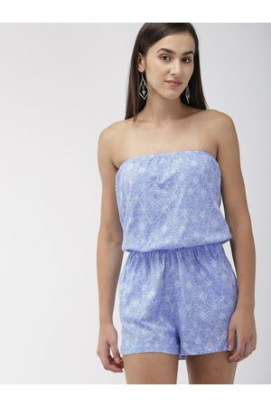 Forever 21 Women Blue & White Printed Playsuit