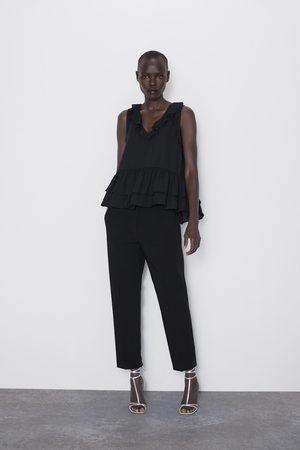 Zara Contrast frilled top