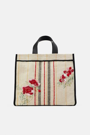 Zara Women Tote Bags - Embroidered fabric tote bag