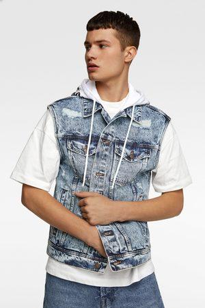 Zara Men Waistcoats - Denim hooded waistcoat