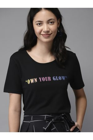 HERE&NOW Women Black Solid Round Neck T-shirt