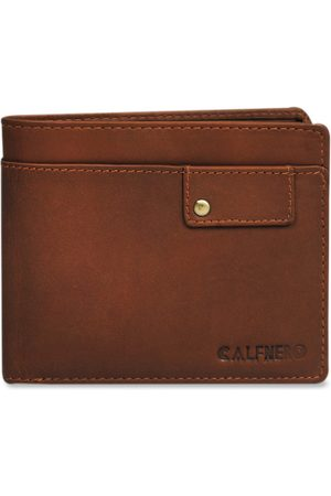 CALFNERO Men Brown Solid Leather Two Fold Wallet