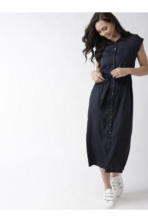 Mast & Harbour Women Navy Blue Solid Shirt Dress