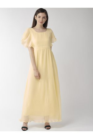 MISH Women Yellow Solid Accordian Pleated Maxi Dress