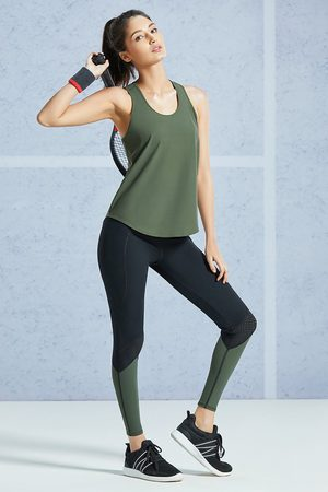 Amante Smooth and Seamless Easy Movement Relaxed Fit Racer Back Tank Top Army Green